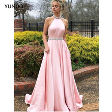 YUNUO A-line Prom Dresses Pink High Neck Sleeveless Cheap Be