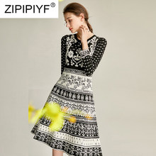 2020 Spring Women Arrival Knit Dress O-Neck Long Sleeve Fashion Dress Big Swing Knee Length Vintage High Quality Dress Y111(China)