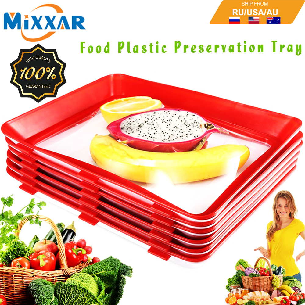 Dropshipping Food Plastic Preservation Tray Vacuum Creative with Magic Elastic Lid Healthy Seal Storage Container Kitchen Tools