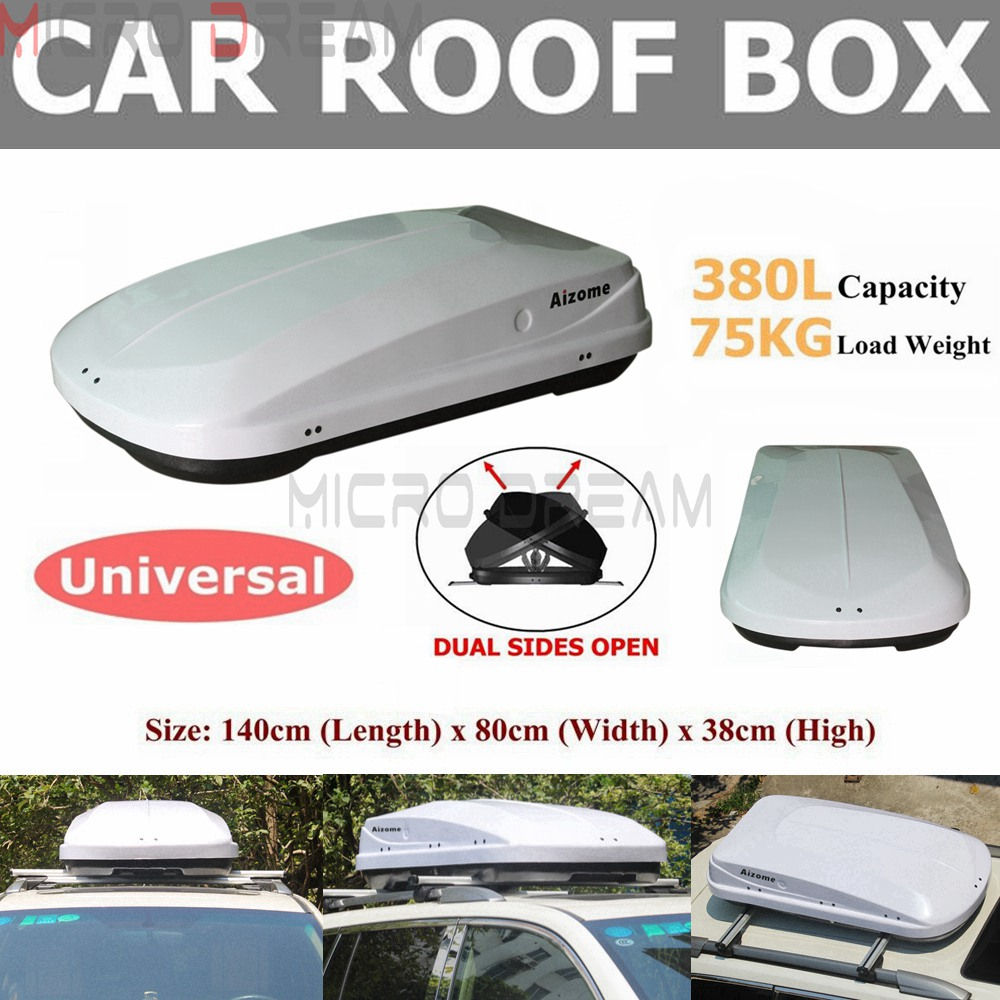 Night White 380L 75KG SUV Car Roof Box Dual Side Open Rooftop Rack Luggage Pod Cargo Carrier Universal image