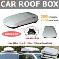 Night White 380L 75KG SUV Car Roof Box Dual Side Open Rooftop Rack Luggage Pod Cargo Carrier Universal