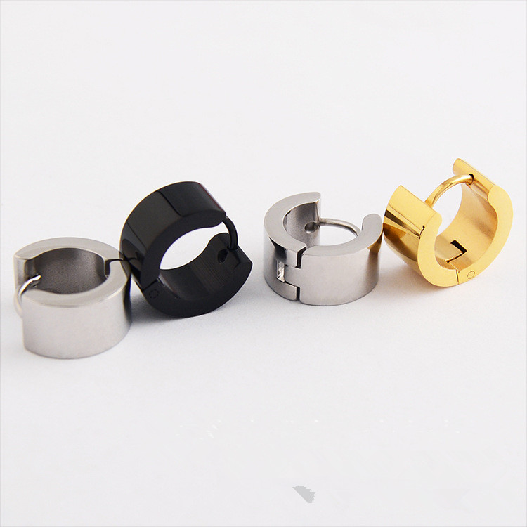 Hc33e83046b094aa08450a7604f89d5dco - Fashion Gothic Punk 1 Pair Stainless Steel Mens wide glossy Stud Earrings Jewelry Black Earrings Ears Buckle