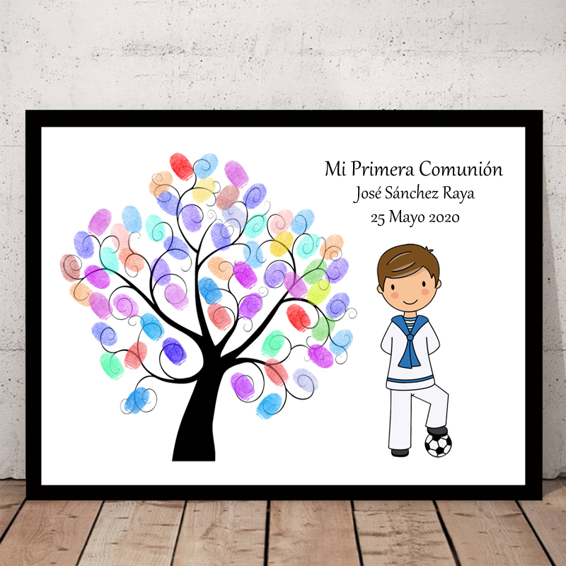 Customized Theme Name Date Kids Football Mi Primera Comunion Fingerprint DIY Canvas Guestbook For First Holy Communion Souvenir