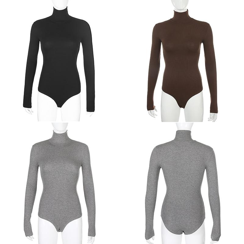 Darlingaga – Body à col roulé, manches longues pour femme, basique moulant, haut très près du corps, chaud, uni, automne hiver