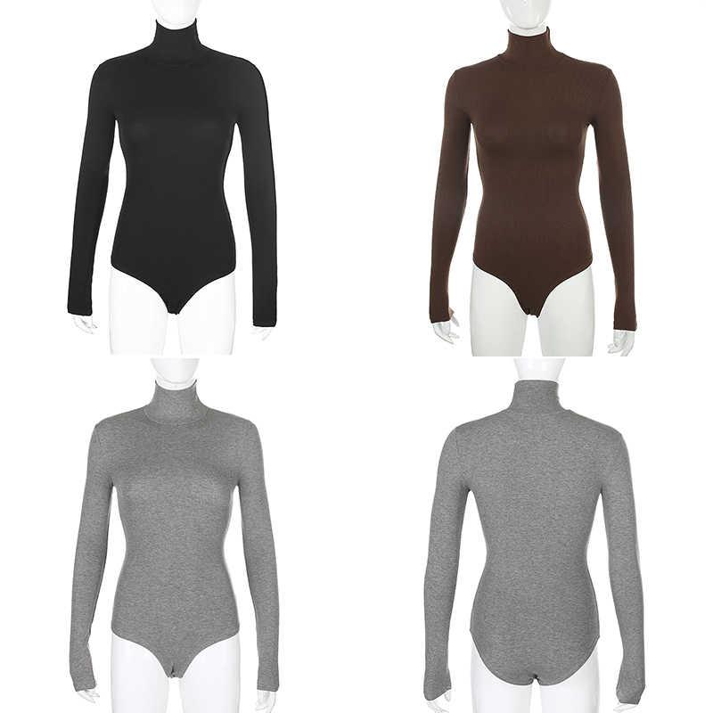 Darlingaga rahat katı sıska balıkçı yaka uzun kollu Bodysuit sıcak temel kadın vücut sonbahar kış yüksek boyun Sheer Bodysuits ince