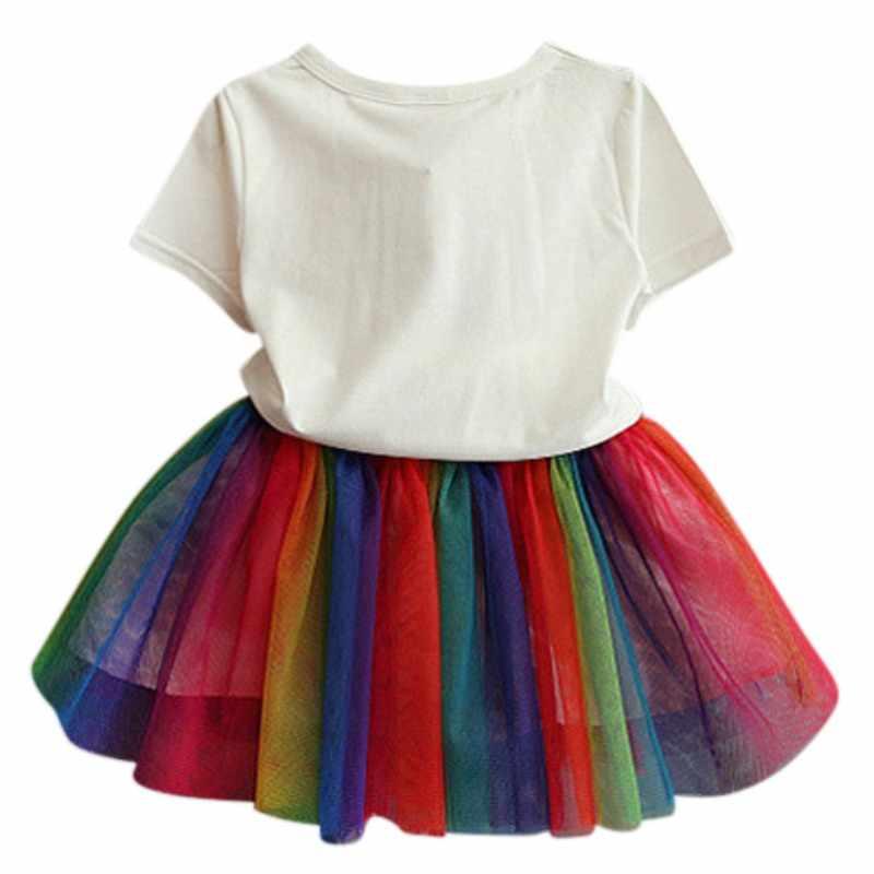 طفلة الملابس الكرتون تي شيرت قوس قزح بالون تنورة ملونة شبكة تنورة قطعتين مجموعة ل 2-7T