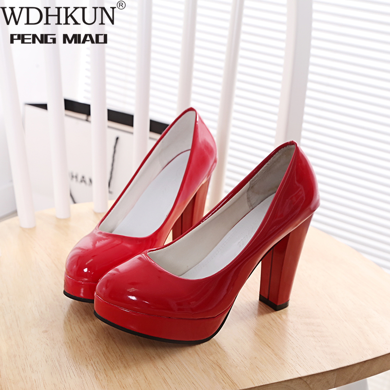 WDHKUN  High Heels Shoes Women White Wedding Shoes Thick High Heels Fashion Party Pumps Footwear Yellow Red Big Size 9 10 41 43