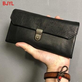 Handmade large-capacity long wallet men leather clutch bag multifunctional wallet men's wallet mobile phone bag retro purse