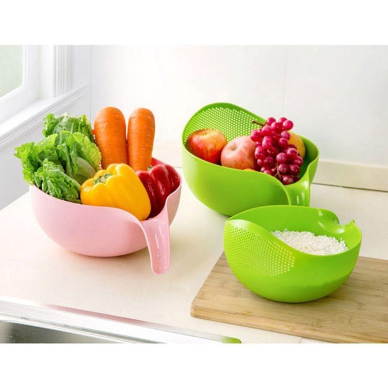 1PC Rice Washing Filter Strainer Basket Colander Sieve Fruit Vegetable Bowl Drainer Cleaning Tools Home Kitchen Kit