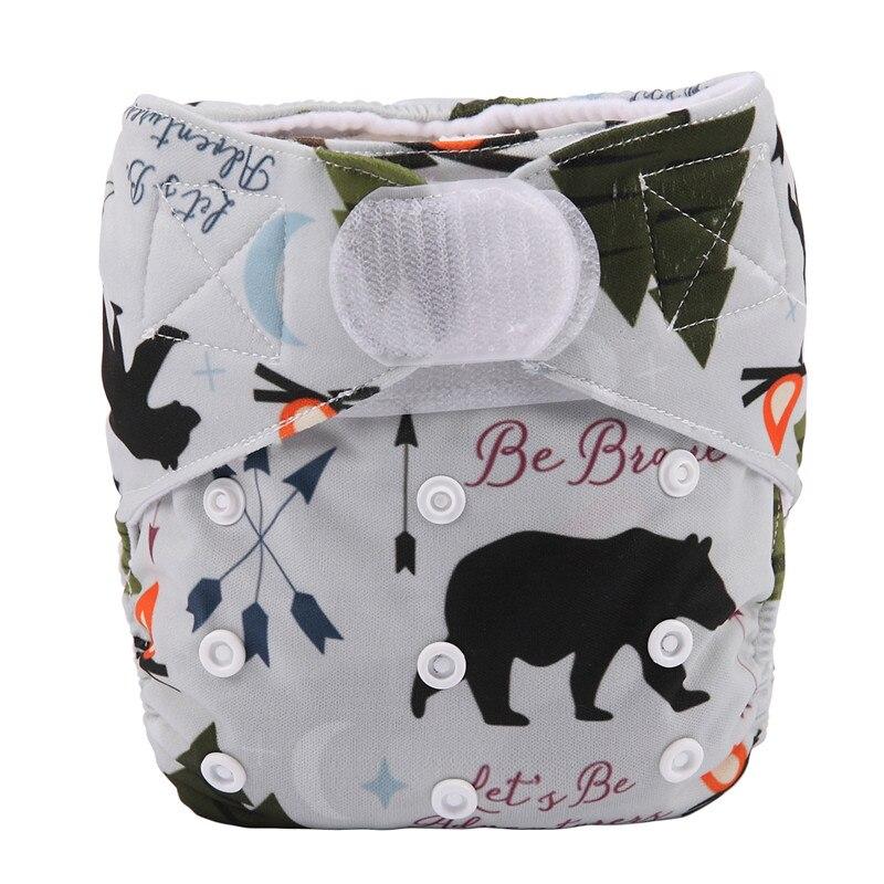[Sigzagor] 1 тканевый подгузник с карманами для детей, подгузник с застежкой-липучкой, с широкими полосками на талии - Цвет: DV5