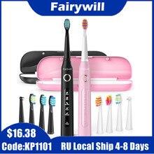 Fairywill – brosse à dents électrique sonique, nettoyage puissant, minuterie Rechargeable USB, tête de rechange, brosse de blanchiment lavable pour adulte