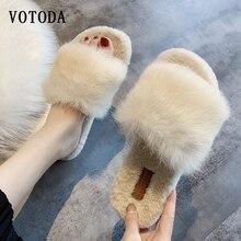 Winter Women Furry Slippers Fur Slides Fluffy Plush Slides Home Slippers Open Toe Slip On Outdoor Flip Flops Casual Flats Shoes
