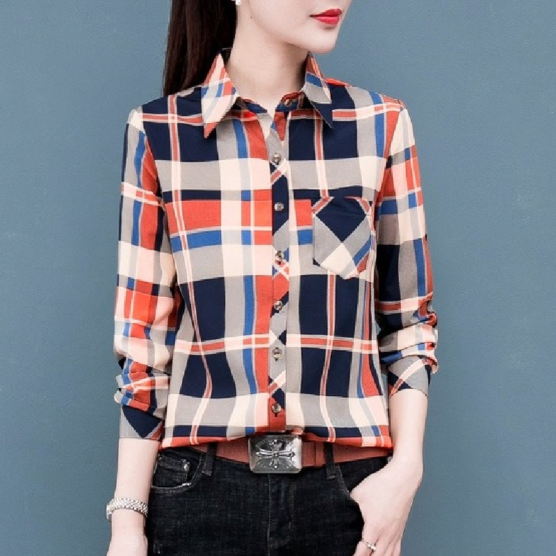 Autumn Spring Plaid Shirts Women Tops Long Sleeve Turn Down Collar Button Slim Shirt Casual Female Office Tops Female Clothes