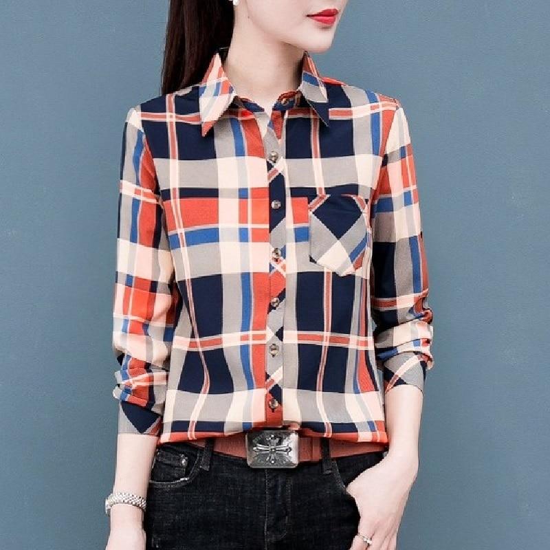 Autumn Spring Plaid Shirts Women Tops Long Sleeve Turn Down Collar Button Slim Shirt Casual Female Office Tops Female Clothes