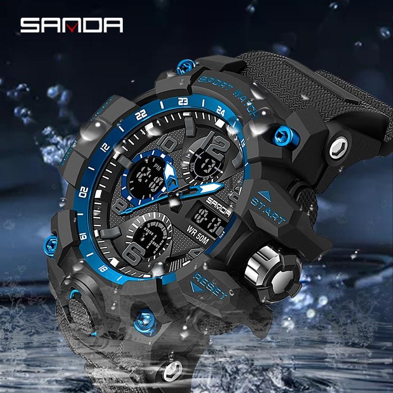 Montre homme SANDA marque montre-bracelet de luxe double temps chronomètre Sport militaire montres mode hommes montres horloge antichoc