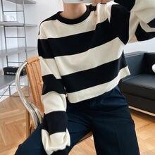 Черный и белый полосатый свитер для женщин осень 2020 корейский