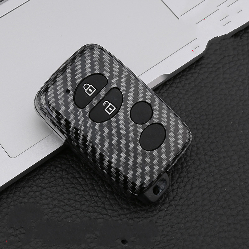 Carbon Car Key Case For Toyota Land Cruiser 4Runner 5700 Prius RAV4 Camry Smart Remote Control Fob Protector Cover Keychain Bag