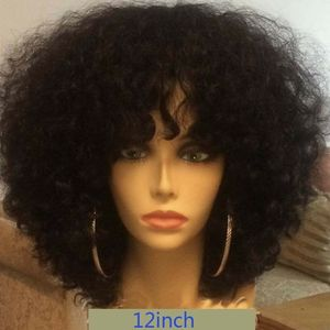 Remy малайзийские кудрявые короткие человеческие волосы, парик с челкой для чернокожих женщин 150% Плотность