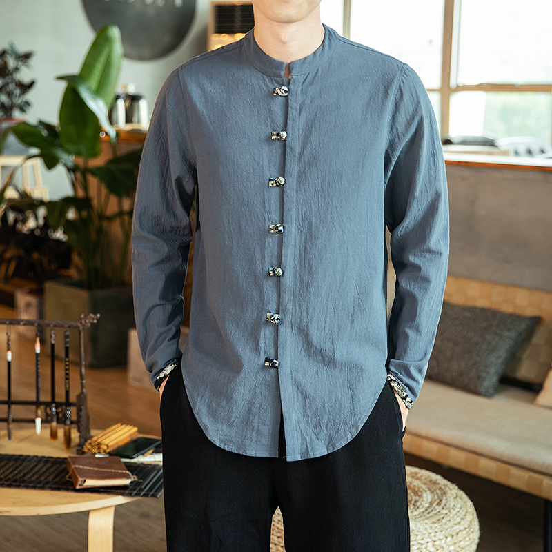 Mens Chinese Style Shirt Traditional Kung Fu Hanfu Solid Long Sleeve Wu Tang Suit Cheongsam Tops Men Buttons Clothing 5XL