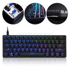 Механическая клавиатура GK61, USB Проводная, светодиодный, с подсветкой оси, игровая механическая клавиатура для настольных ПК, Прямая поставка