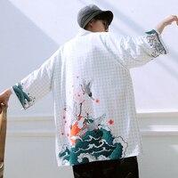 2019 Samurai Crane kimono japones man japanese kimono men yukata men kimono femme haori Japanese Streetwear Mens Kimono Jacket