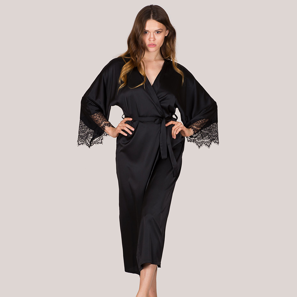 Silk Satin Sleep Dress Wear Bathrobes For Women Black Long Sleeve Lady Lingerie Dress Nightgown Maxi Night Dress Lingerie D30