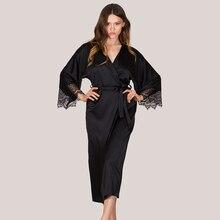 Silk Satin Sleep Dress Wear Bathrobes For Women Black Long Sleeve Lady Lingerie Dress Nightgown Maxi Night Dress Lingerie D30 stylish argyle printed long sleeve belted maxi dress for women