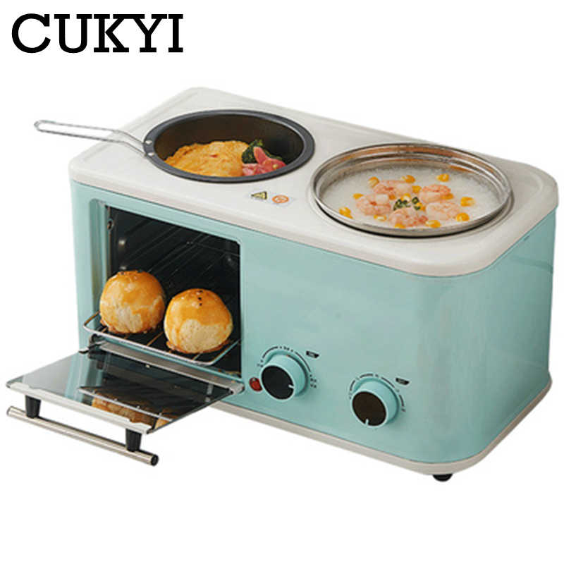 CUKYI Electric 3 in 1 Household Breakfast machine mini bread toaster baking oven omelette fry pan hot pot boiler food steamer EU