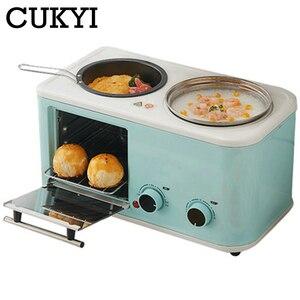 Cukyi elétrica 3 em 1 máquina de café da manhã do agregado familiar mini pão torradeira cozimento forno omelete fritar panela quente caldeira alimentos a vapor ue