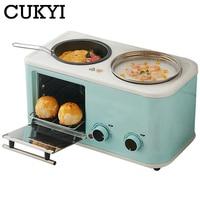 Cukyi elétrica 3 em 1 máquina de café da manhã do agregado familiar mini pão torradeira cozimento forno omelete fritar panela quente caldeira alimentos a vapor ue|Forno c/ cafeteira e chapa|Eletrodomésticos -