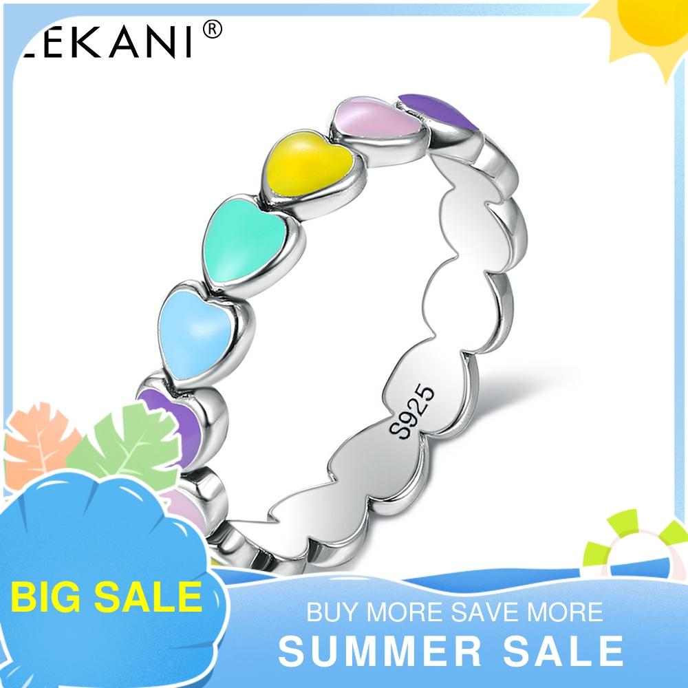 LEKANI Authentic 925 Sterling Silver Stackable Rainbow Heart Finger Rings For Women Romantic Engagement Ring Fine Jewelry Best