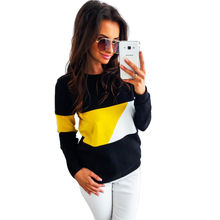New Autumn Women Fashion Casual Tops Round Neck Long Sleeve Slim Sweatshirts Color Block Pullover Coat