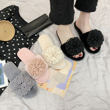 Liren New 2019 Summer Flowers Slippers Women Fur Slides Home Flat Sandals Female Cute Fluffy House Shoes Woman Brand Luxury
