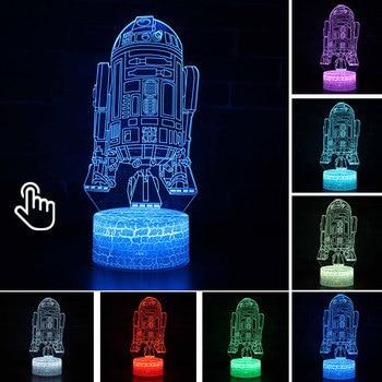 Star Wars Darth Vader Anime Figure Acrylic 3D Illusion LED Lamp Colourful NightLight Death Star Mask Yoda Model Toys Child Gift 43