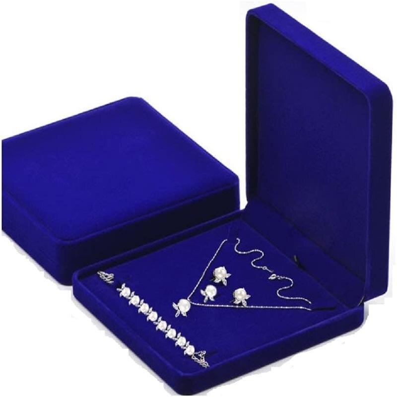 Бархатная шкатулка для ювелирных изделий, большая подарочная коробка с подвесками для ожерелья, кольца, сережек, чехол для хранения свадебн...