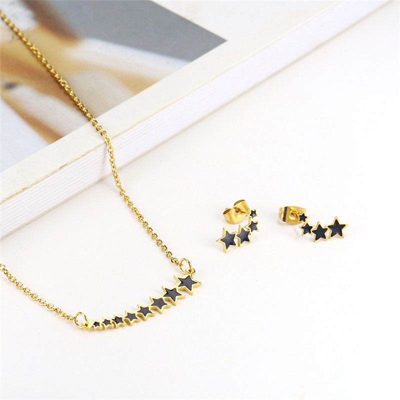 OUFEI Stainless Steel Jewelry Sets for Women Star Necklace Earrings Geometric Necklace Set Of Earrings For Women Jewellery