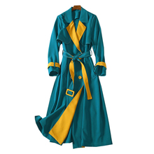 vivid block color patchwork female winter coat notched collar long sleeve sash belt double breasted buttons ladies trench coat