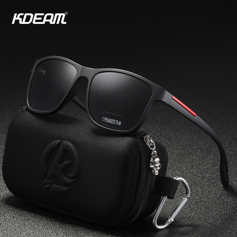 KDEAM Soft Matte Black Polarized Men's Sunglasses TR90 Plastci Titanium Polaroid Sun Glasses Men Brand Designer Eyewear KD890