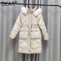 DEAT-abrigo de algodón con cordón para mujer, chaqueta de plumón de pato blanco con cordón, manga larga, temperamento de mujer a la moda para invierno 2021 11D2968