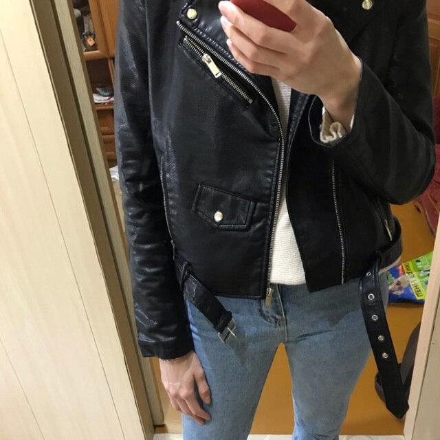 FTLZZ Fashion Pu Leather Jacket Women Bright Color Black Motorcycle Coats Short Faux Leather Biker Jackets Soft Coat Female 6
