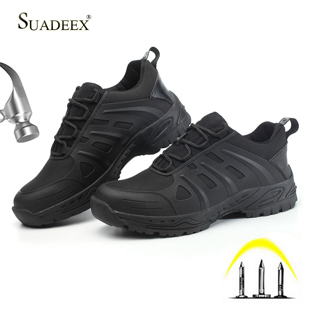 SUADEEX Mens Work Steel Toe Shoes Working Safety Shoes Lightweight Anti-smashing Anti-slip Indestructible Shoes Casual Sneakers