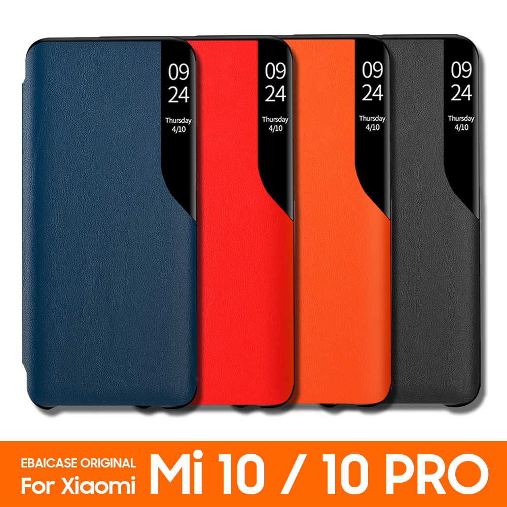 Untuk Xiaomi Mi 10 Pro 5G Global Versi Case Bening Setengah Window Case Ebaicase Asli Cermin Smart View Kulit flip Cover
