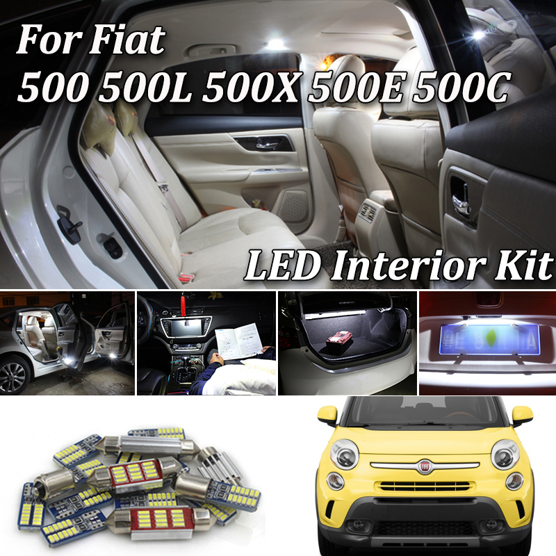 100% White No Error Car LED Bulb Interior Dome Light Kit For Fiat 500 500L 500X 500E 500C LED Interior Lamp Light Kit 2007-2017