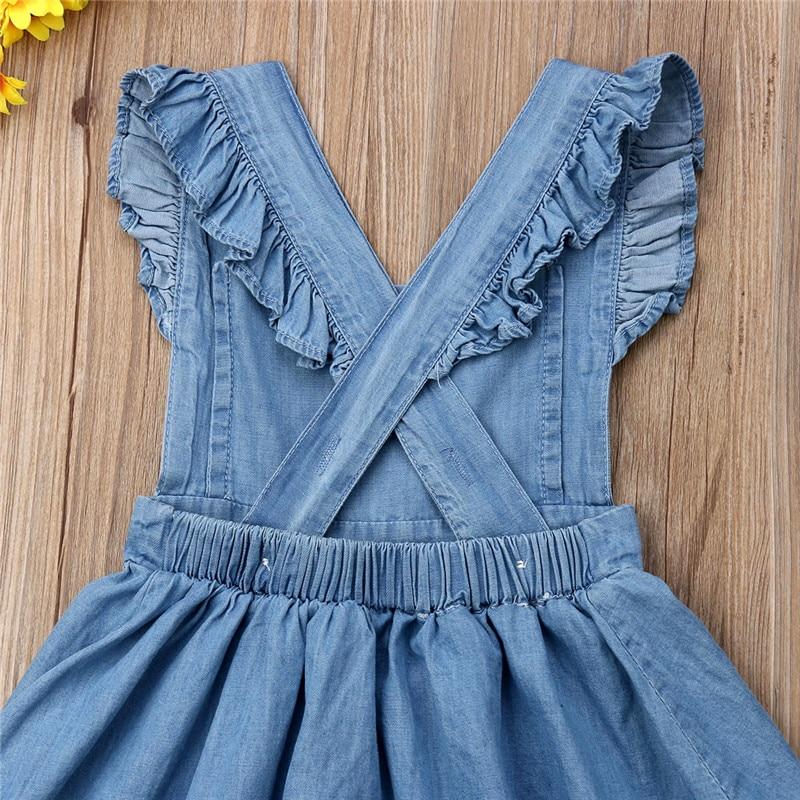 Summer Baby Girls Denim Dress Kids Shoulder Straps Clothes Toddler Kids Tutu Casual Button Backless Dress Sweet Sundress 1 6T in Dresses from Mother Kids