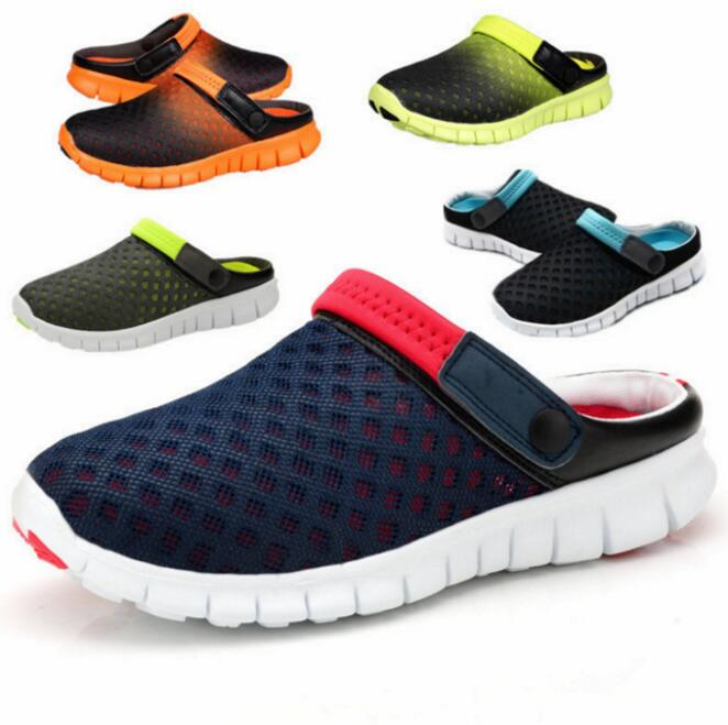 Summer Men Slippers Large Size Clogs Breathable Mesh Man Beach Shoes Quick Dry Outside Garden Shoes Lovers Couple Sandals