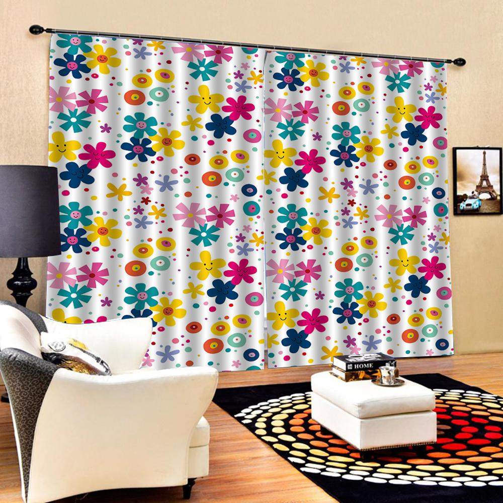 High quality custom 3d curtain fabric color sun flower curtains 3D Blackout Curtains For Living room Bedding room Drapes Cotinas