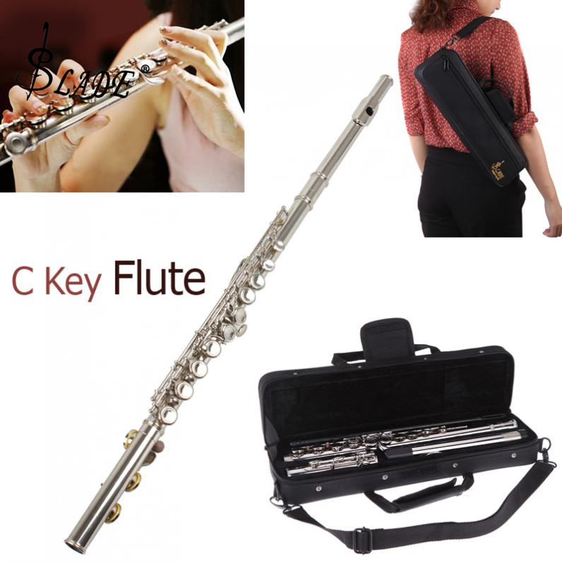 Lade banhado a prata 16 furos fechados ckey flauta e instrumentos musicais com estojo/pano/chave de fenda