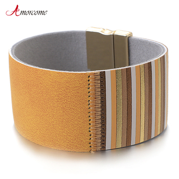 Amorcome Splice Stripe Wide Leather Bracelet for Women Fashion 2019 Bohemian Style Wrap Charm Bracelets & Bangles Jewelry Femme amorcome metal feather genuine leather bracelet for women jewelry fashion multilayer bohemian charm wide bracelets