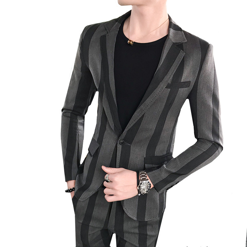Striped Slim Suit Two-piece Men's Autumn British Style Bars Young Jacket + Pants Business Wedding Dress Handsome Clothing