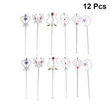 12pçs varinhas de borboleta mágicas rosa, varinha de plástico adorável de desenho cardíaco, vara de festas de aniversário para meninas, cosplay